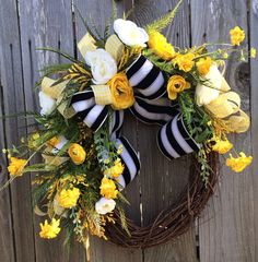 Spring Wreath Summer Wreath Natural Wreath Front by BaBamWreaths