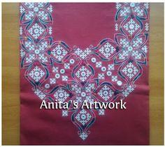 Embroidery On Kurtis, Kurti Embroidery Design, Embroidery Neck Designs, Embroidery Works, Indian Embroidery, Hand Embroidery Patterns, Kurta Designs Women, Kurti Neck Designs, Blouse Designs