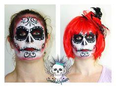 Sugar Skull face paint Sugar Skull Face Paint, Traditional Art, Art Forms, Body Art, Halloween Face Makeup, Painting, Painting Art, Paintings, Body Mods