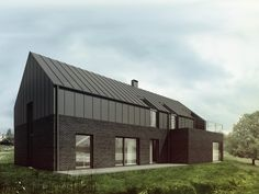 Black Brick with Black Zinc Roof. Roof Design, Exterior Design, House Design, Zinc Cladding, Zinc Roof, Architecture Résidentielle, Modern Barn House, Modern Cottage, Contemporary Barn