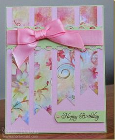 handmade birthday card ... pinks! ... perfectly knotted pink bow ... lovely patterned paper fishtail  columns ... sweet card!