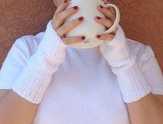 White Fingerless Gloves - Snow White Fingerless Gloves for Women - Crochet, Crocheted Fingerless Gloves, Arm Warmers, Wrist Warmers by HoookedHandmade, $16.00