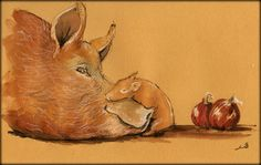 SOLD - Pigs original watercolor painting by Juan Bosco