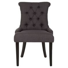 Set of two charcoal side chairs with button tufting and birch wood legs.