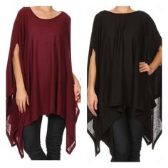 Beautiful dramatic tops NWOT two colors Berry colored and black NWOT sold separately Tops Blouses