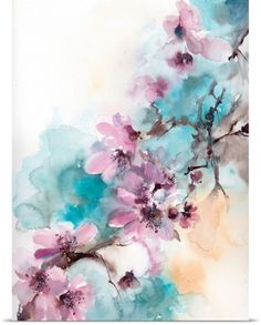 Sophia Rodionov Poster Print Wall Art Print entitled Cherry Blossoms on Blue, None