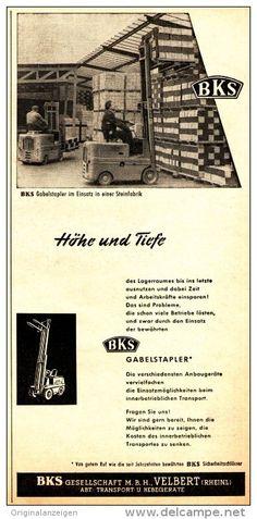 Original-Werbung/ Anzeige 1958 - BKS GABELSTAPLER - VELBERT - ca 130 x 250 mm