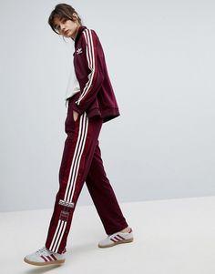 342ab611 Adidas adidas Originals Adibreak Popper Track Pants In Maroon Adidas  Tracksuit Women, Burgundy Pants Outfit