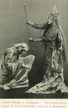 Imperial Russian Theatre…Margarita Savitskaya as The Good Fairy & Vera Baranovskaya in The Blue Bird, 1908 Play by Maurice Maeterlinck,