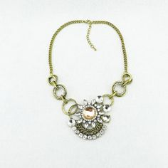 Antique gold necklace crystal statement necklace linked by eBijoux, $15.99