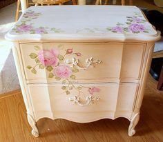 These would have been sweet when you were going this direction in the girls room...  French Painted night stand by kimberlyannryan, via Flickr