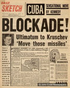 Cuban Missile Crisis- A 13-day confrontation between the U.S. and the Soviet Union. Happened because America had ballistic missiles  in Italy and Turkey, and the Soviet had ballistic missiles in Cuba. It is often though to be the closest the Cold War came to escalating into a full-scale nuclear war, which could and would have been the end.
