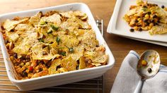 "A flavor-packed ""all-in-one"" meal topped with cheesy nacho chips makes this one you won't want to miss."
