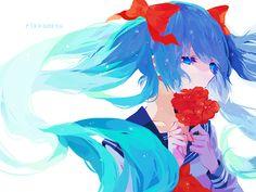 Miku, vocaloid, flower