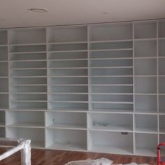 built-in painted unit Wood Slat Wall, Wood Slats, Built In Furniture, Industrial Furniture, Make Build, Built In Bookcase, Shelves, Building, Interior