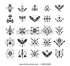 Handdrawn tribal patterns with line, arrow, feathers, vector decorative elements, boho symbols Aztec style. Boho pattern, tribal logo, hipster shapes - stock vector