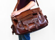 Leather Travel or Duffle Bag  Men's Weekend Overnight by CrolAndCo, $355.00