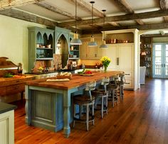 Best Rated Country Kitchen Designs With Islands. Port Country Style Kitchen Design Feature Nice Rustic Wooden Island And Wooden Flooring Plus 3 Hanging Lamps Together With Ancient Wooden Table. Country Kitchen Designs With Islands Country Style Kitchen, Country Cottage Kitchen, Rustic Kitchen Design, Mediterranean Kitchen, Kitchen Remodel, New Kitchen, Home Kitchens, Kitchen Styling, Kitchen Design
