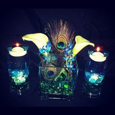 Peacock Centerpiece with Lilies. $55.00, via Etsy.