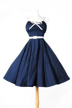 Pinup Couture - Molly Dress in Navy with White Dots - Plus Size | Pinup Girl Clothing