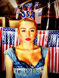 Miley Cyrus tweeted her festive Fourth of July look.