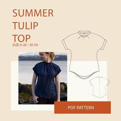 Blouse PDF sewing pattern for women The Summer Tulip Top is a lovely dropped shoulder summer blouse. It's designed with a curved hem, and a small collar stand sewn to a gathered neckline. The blouse has a slit and snap at the center back neckline. The sleeve is finished with a folded