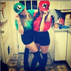 mine and lainas costumes for next year haha aint never to old for treak or - Girl Mario And Luigi Halloween Costumes