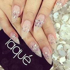 Diamond , pink color , shining nail look