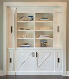 Luxury White Bookshelf with Cabinet