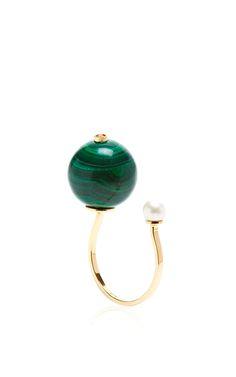 Malachite Stone-Edge Piercing Ring by Delfina Delettrez for Preorder on Moda Operandi