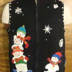 Playing SnowmenFunny Ugly Sweater Vest for a Christmas Party