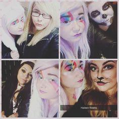 Out in Killie with my palsys #freens #kilmarnock #vampire #vampiremakeup #vampirecostume #skull #skullmakeup #skeletonmakeup #bunnycostume #rabbitcostume #catcostume #catmakeup #lionmakeup #cowardlylion #halloween #halloweenmakeup #out #pub #drunk #pals #killie #unicornmakeup #unicorn #unicorncostume #imaunicorn #alwaysbelieve #rainbow  #rainbowmakeup