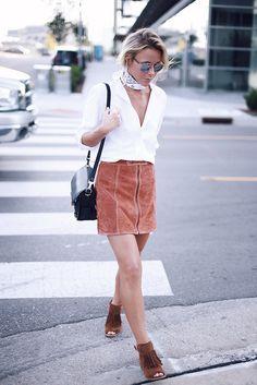 rust suede skirt