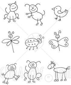 Easy reference for drawing stick people and animals... by The OT Mommy :)