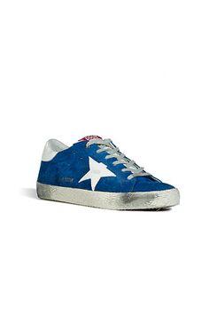 GOLDEN GOOSE  Blue Suede/White Superstar Sneakers