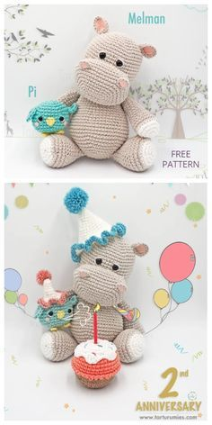 Crochet Hippo, Crochet Baby Toys, Crochet Elephant, Crochet Amigurumi Free Patterns, Crochet Animal Patterns, Stuffed Animal Patterns, Cute Crochet, Crochet Dolls, Crochet Animals