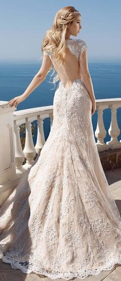 Cute Backless Beach Wedding Gown Lace Mermaid Bride Dress. Ideal for Pear-Shaped and Hourglass Body Types. See at http://www.cutedresses.co/product/backless-beach-wedding-gown-lace-mermaid-bride-dress/
