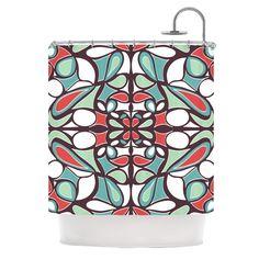 Brown Round Tiles Shower Curtain
