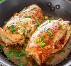 Cheese and prosciutto stuffed chicken breasts recipe: Serves: 2 Ingredients 2 boneless chicken breast halves ¼ cup spreadable garlic and herb cream cheese 4 thin slices prosciutto 2 tbsp chopped oil packed sun-dried tomatoes basil lea Meat Recipes, Chicken Recipes, Dinner Recipes, Cooking Recipes, Healthy Recipes, Hungarian Recipes, Italian Recipes, Boneless Chicken Breast, Chicken Breasts