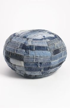 Fantastic idea for left over denim belt loop waistbands I always seem to not know what to do with when I recycle my jeans! Mina Victory Denim Ottoman available at #Nordstrom