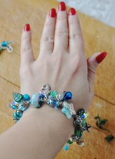 Set of bracelet and dangle earrings lampwork and от ChechelArt