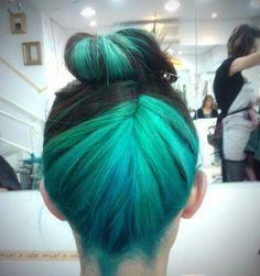 turquoise and black bun - lovelovelove