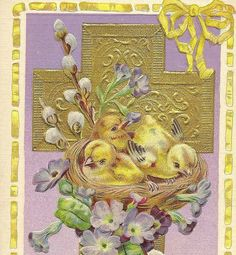 Yellow Chicks in Nest with pussy willows blue flowers gold cross Easter postcard by TheOldBarnDoor, $4.00