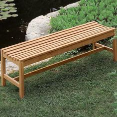 Marvelous Wooden Garden Benches #1 Backless Wooden Benches Outdoor