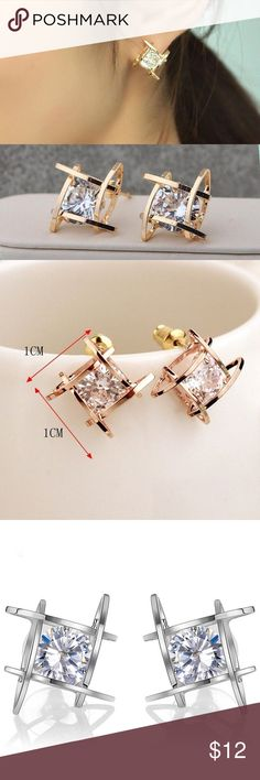"""❤️❤️Elegant crystal stud earrings in gold/sliver ❤️""""Jewelry box clean out sale, limited quantity """" Buy any jewelry (earrings/necklace) for 10 dollars and get 1 more any jewelry for just 5 more dollars when you purchase in a bundle, please leave me a comment if you have any question or need help setting up the bundle, and please let me know the colors of the items you want to purchase! Thanks! Jewelry Earrings"""