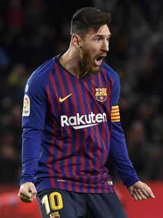 Lionel Messi of Barcelona celebrates after scoring his team's second goal during the La Liga match between FC Barcelona and Valencia CF at Camp Nou on February 2, 2019 in Barcelona, Spain. Lional Messi, Messi Soccer, Football Soccer, Barcelona Team, Barcelona Spain, Messi Photos, Most Popular Sports, Camp Nou, Professional Football