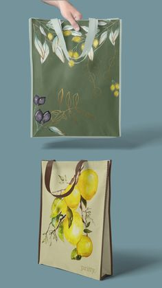 We are super proud of the outcome of our watercolour art applied to these shopping tote bags. #watercolour #art #shopping #totebag #products #kitchen #lemon #olive Watercolour Art, Tote Bags, The Creator, Lemon, Range, Hand Painted, Content, Kitchen, Painting