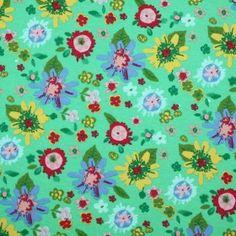 Kinderstoff Jersey - Hell Blumen Grün