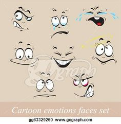 cartoon surprise Clip Art | Stock Illustration - Cartoon emotions faces set. Clipart gg63329260