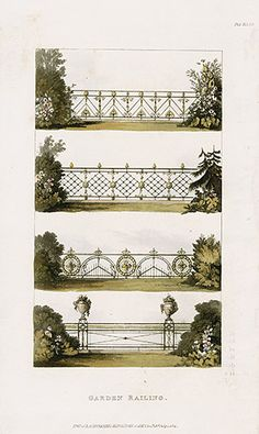 Appearing in the July 1821 issue of Repository of Arts, Literature, Fashions &c, these hints on ornamental gardening replete with plates of railings meant to be painted or gilded for add…